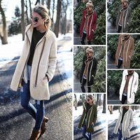 outono europeu e americano e inverno nova terry velo moda botão zipper gola alta mulheres casaco casaco quente