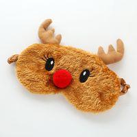 Noel hediyesi için Noel Geyik sevimli hayvan göz kapağı Peluş Kumaş Sleeping Maske Eyepatch Kış Karikatür şekerleme Göz Gölge