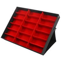 18 Gitter Sonnenbrille Aufbewahrungsbox Organizer Brille Display Case Stand Halter Eyewear Brillen Box Sonnenbrille Hülle Rot + Rot + Schwarz