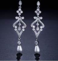 2 pares / lots earings nobre de alta qualidade cristal baixo preço de diamantes pérolas high-end de luxo zircão atmosférica palácio banquete da senhora 15,74