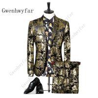 Gwenhwyfar Baskılı Patter Suits 2019 Yeni Varış Erkekler Rahat Smokin Takım Elbise Homme Erkekler Suit İş düğün damat takım ...