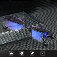 Fashion Rimless Reading Glasses Women Men Transparent Blue L...