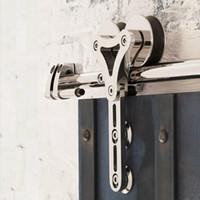 5ft-16ft الثقيلة نحى الفولاذ المقاوم للصدأ انزلاق الباب الخشب الباب الداخلية رئيس مزدوج الجوف خارج شماعات عجلة عجلة كيت