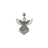 MIC 30pcs Antique Silver Large Filigree Angel Focal Dangle Bead Fit European Style Charm Bracelets 52.5 x 39 mm (z094)
