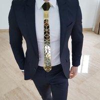 İş Hediyesi, Düğün için Hediye Kutusu Kesme kenar tasarımı Erkekler Kravatlar Ekose Desenli 24K Altın Ayna Lüks Moda Kravat Dar kesim