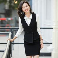 Trajes de damas Negro Chaleco mujeres de negocios con la falda y chaleco Establece asistentes de belleza Salón de oficina Estilos uniformes
