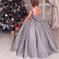 Blingbling Sliver Sequin Girls Pageant Dresses Backless Jewe...