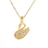 Regalo del día de la madre de moda clásico cisne colgante de cristal collar de oro collar de joyería animal para navidad