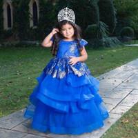 Bleu Royal Enfant Filles Pageant Robes Appliqué Jewel Cou Robe De Bal À Paliers Fleur Fille Robe Etage Longueur Princesse Kid Robes De Bal Z116
