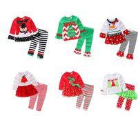아기 크리스마스 스트라이프 정장 아동 만화 바지 크리스마스 가을 Payamas 의상 어린 소녀 가정 의류 잠옷 잠옷 LJJA3354-3 꼭대기에 오른다