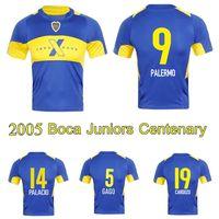 2005 Boca Juniors Centenary Soccer Jersey Palermo Gago Palacio Cardozo Tevez Boca Retro Vintage Clássico Camisa de Futebol Clássico