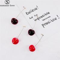 Moda 3D vermelho cereja brincos Fruit ouro bonito Dangle brincos charme jóias de brincos para o dia-Z Mulheres Meninas dos Namorados