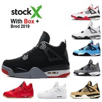 Con la casella Stock X 4s Bred Cool Grey 4 White Cement 4s scarpe da basket Mens Sneakers sognarlo Do It Toro Bravo