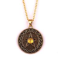 HY152 فايكنغ دائرة الدينية سحر قلادة تعويذة مطلية بالذهب خمر الخماسي قلادة قلادة مع الأحمر الأزرق الأصفر الأحجار الكريمة والمجوهرات