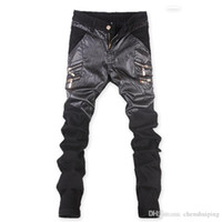 New Fashion Men' s Skinny Leather Stitching Pants Faux L...