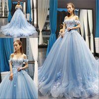 스카이 블루 Quinceanera 드레스 공 가운 오프 어깨 3D 꽃 Appliques 달콤한 16 드레스 댄스 파티 가운 vestidos 2020