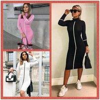 Dresses Stand Collar Long Sleeve Womens Summer Dress Autumn Casual Womens Pencil Dress Women Designer Bodycon