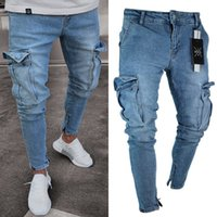 Pantaloni a sigaretta Stretch Biker Jeans slim fit denim uomini di modo Pantaloni Pocket
