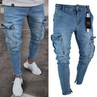 Magros estiramento Biker Jeans Slim Fit Denim calças dos homens da moda Calças Bolso