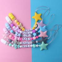 2020 Infant Safy Zahnen Chew Spielzeug Baby-Schnuller Clip neue Art und Weise Silikon Brief fünfzackigen Stern Perlen Schnullerkette