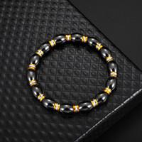 Черный бисерный гематит круглые пряди Стремящиеся браслет для мужчин и женщин анти-усталостные магнитно-терапии браслеты ювелирных изделий