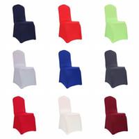Silla de boda al por mayor 22 del partido Color Hotel Decoración Parte abarca color sólido Spandex estiramiento cubierta de la silla para bodas banquetes DH0681