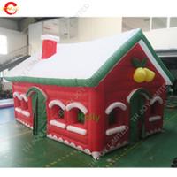حرية التسليم الباب 6x4x3.3 مي مي مخصص نفخ سانتا هاوس العملاق الهواء نطاط منازل عيد الميلاد في الهواء الطلق الإعلان خيمة