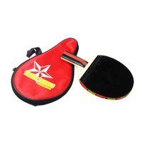 Mango largo Agitar a mano Mesa de ping pong raqueta paleta de ping pong + bolsa impermeable del bolso rojo de cubierta Mesa de ping pong accesorios