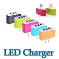 3 USB 벽 충전기 LED 여행 어댑터 충전기 휴대 전화 용 홈 플러그