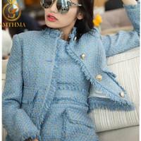 SMTHMA 2019 Nueva llegada de la moda azul de las mujeres y del escudo Chaqueta de tweed rosa + Dos Piezas Vestido sin mangas de la borla Establece Y200110