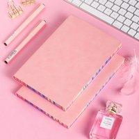 A5 귀여운 핑크 부드러운 PU 가죽 일기 노트북 사무실 수제 빈티지 저널 일기 주간 계획 편지지 100 시트 두꺼운 종이