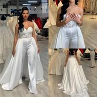 Sexy pantalones de mansos blancos vestidos de noche para la novia desgaste 2020 cariño apliques largo falda desmontable pantalones vestido vestidos de baile