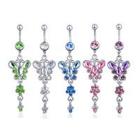 D0728-1 (5 couleurs) Colle Clear Colors Bowknot Style Bouton Bouton Bague Navel Anneaux De Navel Piercing Bijoux Bijoux Dangle Accessoires Mode Charm 20 pcs