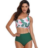 Cintura alta Impresso Sexy Um Ombro Biquíni duas peças maiô feminino Swimwear Mulheres Biquíni Set Maiô swim biquini