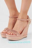 concepteur elgant rouge pointes bracelet de cheville en coin de corde tressée de Madmonica bas sandales gladiator dames sandales d'été des talons hauts EU35-42 C09