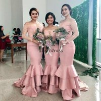 Blush Blush Розовые дешевые русалки невесты платья с длинным рукавом на плечами кружева аппликация плюс размер формальная партия свадьба гостевая горничная честь платья