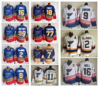 Vintage St. Louis Blues Camisolas de Hóquei 99 Wayne Gretzky 2 AL Macinnis 9 Shayne Corson 16 Brett Casco Mullen Turgeon CCM Costurado Jerseys