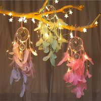 Dream catcher Wall hanging DIY LED lamp Feather Crafts Wind ...
