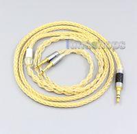 Oppo PM-13:00-2 Düzlemsel Manyetik Kulaklık LN006485 için 3,5 mm 2.5mm 4.4mm 8 Çekirdekler% 99.99 Saf Gümüş + Altın Kaplama Kulaklık Kablo