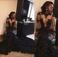 Sul Afria estilo da menina preto Prom Sexy ver através Lace Applique Mermaid Evening Vestidos Ruched Varrer Vestidos Train formal do partido