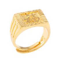 Anillo de latón con ajuste afortunado de oro para hombre, afortunado, color dorado de la moda, en chino
