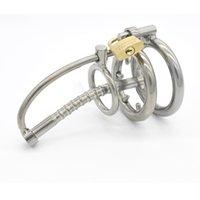 Uso masculino Órgão de Castidade de Aço Inoxidável Dispositivo de Castidade de Metal Cateter de Urina Membra Lock Penis Lock Masculino Aço Castidade Uretral
