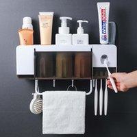 Подставка для зубных щеток Зубная паста соковыжималка диспенсер Аксессуары для ванной комнаты Наборы ванной хранения Box корпус с Чашки предметы быта
