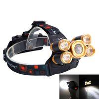 Kafa lambaları Taşınabilir Aydınlatma 3.7 V 2400LM 5T6 Esnek zoom Yüksek Işık Açık Uçak Far Golden