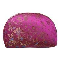 Luz de Viagem 5 pcs = 1 Conjunto bolsa de Jóias bolsas com zip Coin Purse Mulheres brocado De Seda Cosméticos Saco De Armazenamento De Maquiagem Presente Chinês