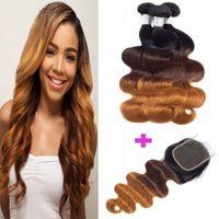 Pelo de onda brasileña del cuerpo con cierre Ombre Color Peruano Malasia Indian Indian Virgin Human Hair Pein Bundles con cierre de encaje 4x4 8-28 pulgadas
