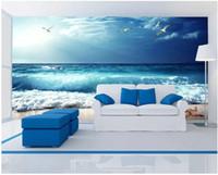 3d foto papel de parede High-end personalizado mural Silk adesivos de parede azul do mar céu azul praia cênica costa seaside cenário parede de fundo