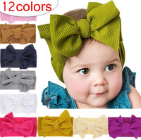Baby girls Solid color Big Bow bunny Headbands Kids hair ban...