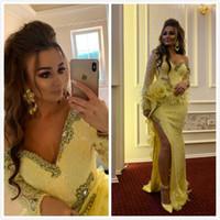 ASO EBI 2019 Árabe Amarelo Lac Sexy Vestidos de Noite Frisado Cristais Sereia Vestidos De Prom Vestidos Formal Festa Formal Vestidos de Promoção ZJ214