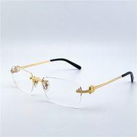 Designer Eye Glasses Frames da forma das mulheres dos homens Designer Optical Retro metal Transparente Lens Vintage Clássico Limpar Praça Eyewear 280088